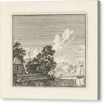 River View With A Haystack, Print Maker Hendrik Hoogers Canvas Print