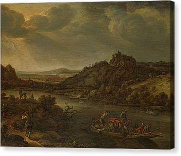 River View With Ferry, Herman Saftleven Canvas Print