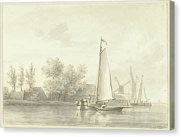River View With Sailing And Rowing Boat, Martinus Schouman Canvas Print