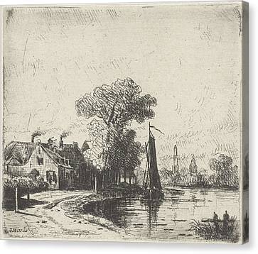 River View With Sailing Ship, Jan Van Lokhorst Canvas Print