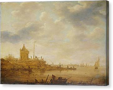 River View With Sentry, Jan Van Goyen Canvas Print