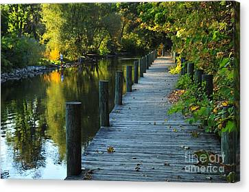 Canvas Print featuring the photograph River Walk In Traverse City Michigan by Terri Gostola