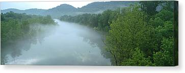 River With Mountains In The Background Canvas Print by Panoramic Images