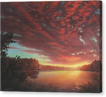 Riverbend Sunset Sky River Landscape Oil Painting American Yellow Pink Orange Canvas Print by Walt Curlee