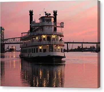 Canvas Print featuring the photograph Riverboat At Sunset by Cynthia Guinn