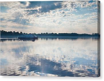 Riverboat In River, Volga Riverfront Canvas Print