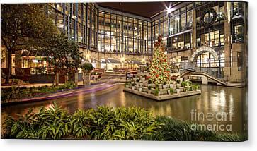Rivercenter Christmas Tree At The Riverwalk - San Antonio Texas Canvas Print by Silvio Ligutti