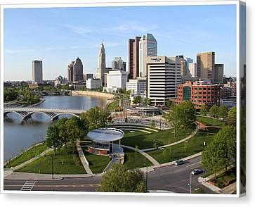 Riverfront Columbus Canvas Print by Joseph Wickham