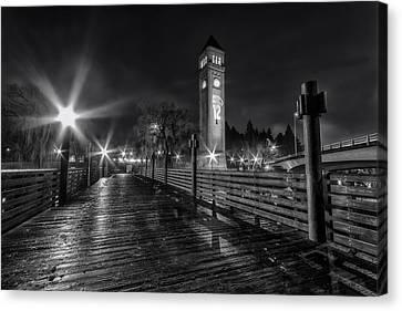 Riverfront Park Clocktower Seahawks Black And White Canvas Print by Mark Kiver