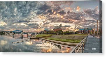 Riverfront Pier Sunrise  Canvas Print by Steven Llorca