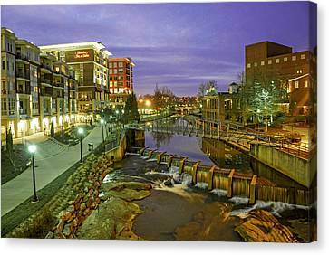 Riverplace In Downtown Greenville Sc At Twilight Canvas Print