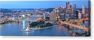 Rivers Bridges And Skyscrapers In Pittsburgh Canvas Print by Adam Jewell