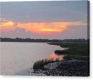 River's Edge Sunset Canvas Print by Joetta Beauford