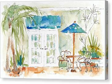 Riverside Courtyard Canvas Print by Pat Katz