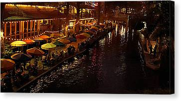 Riverwalk Night Canvas Print by Mary Jo Allen