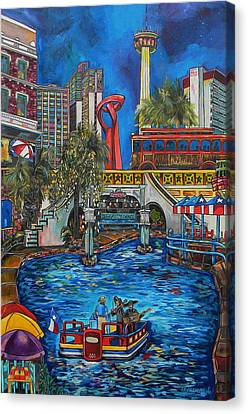 Riverwalk View Canvas Print by Patti Schermerhorn