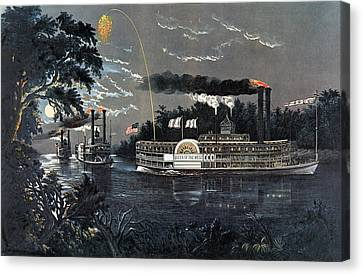 Rl 27835 Rounding A Bend On The Mississippi Steamboat Queen Of The West Litho Canvas Print by N. Currier