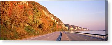 Road Along A River, Great River Road Canvas Print by Panoramic Images