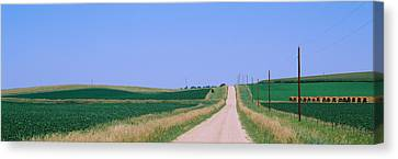 Bales Canvas Print - Road Along Fields, Minnesota, Usa by Panoramic Images