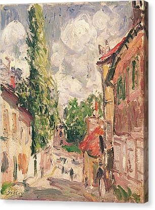 Road In A Village Oil On Canvas Canvas Print by Alfred Sisley