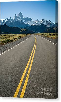 Road Leading To Fitz Roy In Patagonia Canvas Print by OUAP Photography