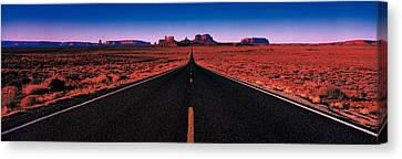 Road Monument Valley Tribal Park Ut Usa Canvas Print by Panoramic Images