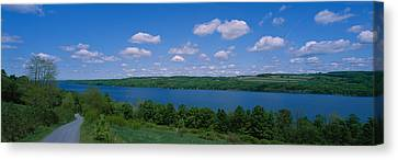 Road Near A Lake, Owasco Lake, Finger Canvas Print by Panoramic Images