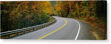 Road Passing Through A Forest, Winding Canvas Print by Panoramic Images