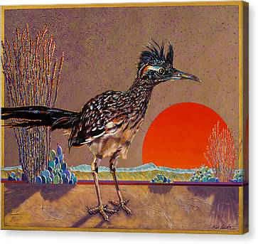 Road Runner At Sundown Canvas Print by Bob Coonts