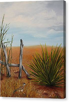 Canvas Print featuring the painting Road Runner by Roseann Gilmore