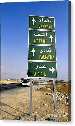 Road Sign, Syria Canvas Print by Adam Sylvester
