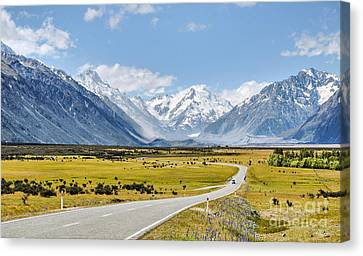 Road To Aoraki Canvas Print by Delphimages Photo Creations