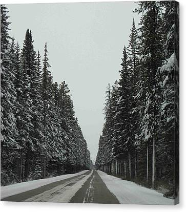 Road To Banff Canvas Print by Cheryl Miller