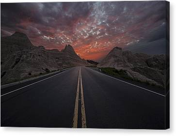 Road To Nowhere Badlands Canvas Print by Aaron J Groen