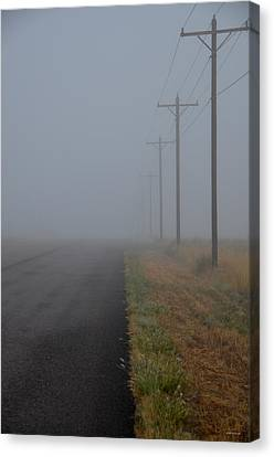 Foggy Day Digital Art Canvas Print - Road To Nowhere by Stephan Pabst