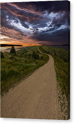 Road To Nowhere - Stormy Little Bend Canvas Print by Aaron J Groen