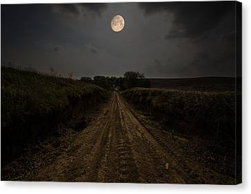 Road To Nowhere - Waxing Gibbous Moon Canvas Print by Aaron J Groen