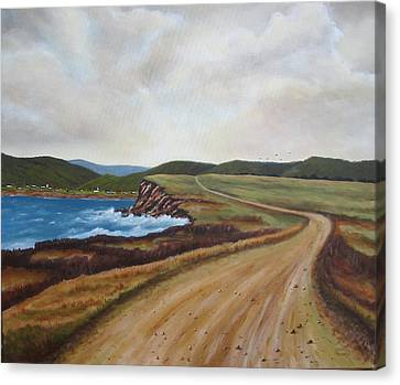 Road To Recovery Aka Cheticamp Ns Canvas Print by Sharon Steinhaus
