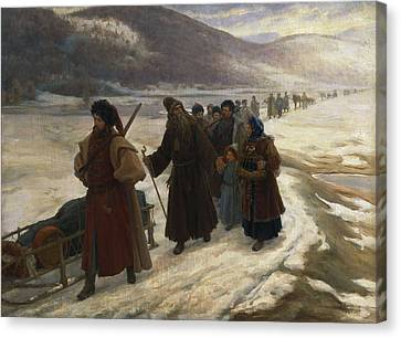 Road To Siberia Oil On Canvas Canvas Print by Sergei Dmitrievich Miloradovich