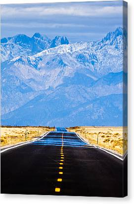 Snow Landscape Canvas Print - Road To The Mountains by Alexis Birkill