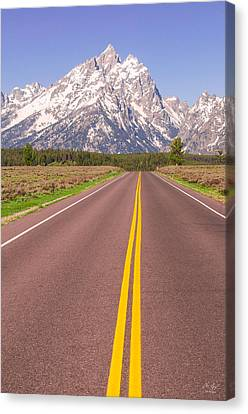 Road To The Tetons Canvas Print by Aaron Spong