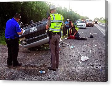 Road Traffic Accident Canvas Print by Jim West