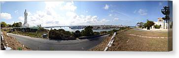 Road View With The Statue Of Jesus Canvas Print by Panoramic Images