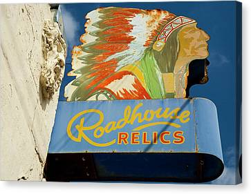 Roadhouse Relics Sign Canvas Print by Mark Weaver