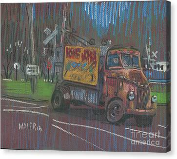Canvas Print featuring the painting Roadside Advertising by Donald Maier