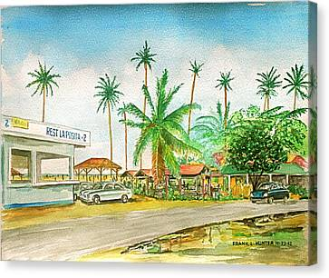 Roadside Food Stands Puerto Rico Canvas Print by Frank Hunter