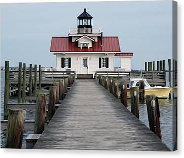 Canvas Print featuring the digital art Roanoke Marshes Lighthouse by Kelvin Booker