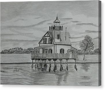 Roanoke River Lighthouse Canvas Print by Tony Clark