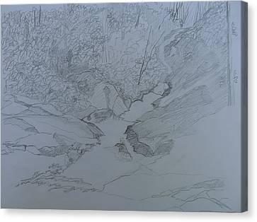 Roaring Fork Falls - Sketch Canvas Print by Joel Deutsch
