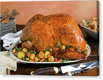 Roast Turkey With Potatoes And Chestnuts Canvas Print by Nico Tondini